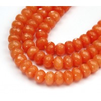 Light Orange Candy Jade Beads, 8x5mm Faceted Rondelle