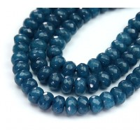 Steel Blue Candy Jade Beads, 8x5mm Faceted Rondelle