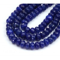 Cobalt Blue Candy Jade Beads, 8x5mm Faceted Rondelle