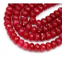 Cranberry Red Candy Jade Beads, 8x5mm Faceted Rondelle