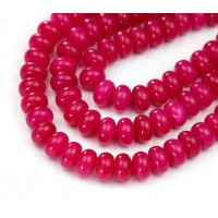 Fuchsia Candy Jade Beads, 8x5mm Smooth Rondelle