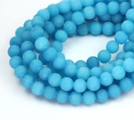 Sky Blue Matte Jade Beads, 6mm Round