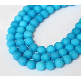 Sky Blue Matte Jade Beads, 8mm Round