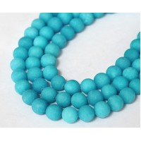 Light Teal Blue Matte Jade Beads, 8mm Round