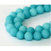 Light Teal Blue Matte Jade Beads, 10mm Round