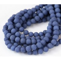 Navy Blue Matte Jade Beads, 8mm Round