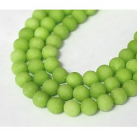 Apple Green Matte Jade Beads, 8mm Round