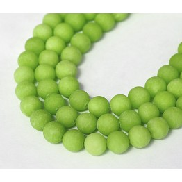 Apple Green Matte Jade Beads, 8mm Round