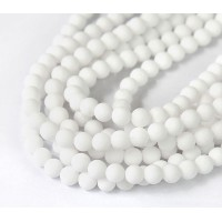 White Matte Jade Beads, 6mm Round