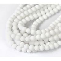 White Matte Jade Beads, 6mm Round