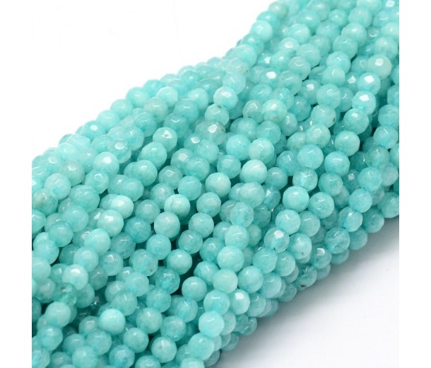 Aqua Candy Jade Beads, 4mm Faceted Round