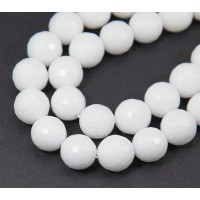 White Candy Jade Beads, 12mm Faceted Round