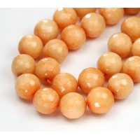 Peach Candy Jade Beads, 12mm Faceted Round