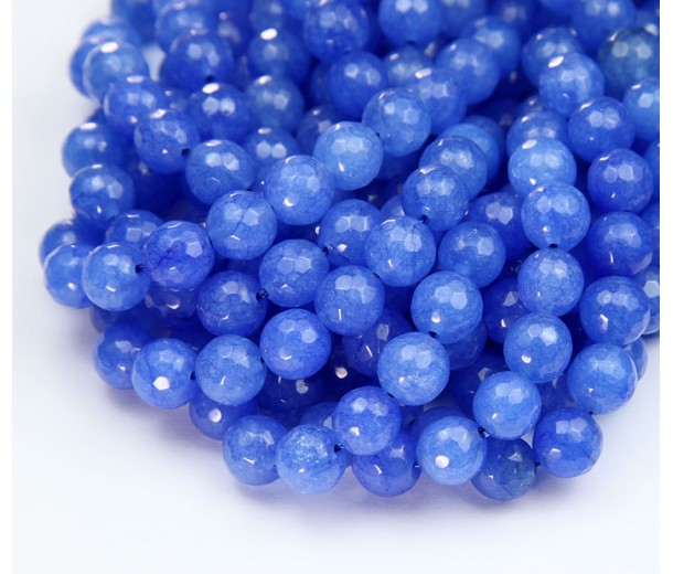 Cornflower Blue Candy Jade Beads, 8mm Faceted Round