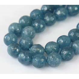 Blue Grey Candy Jade Beads, 10mm Faceted Round