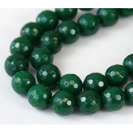 Emerald Green Candy Jade Beads, 10mm Faceted Round