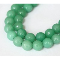 Aventurine Green Candy Jade Beads, 10mm Faceted Round