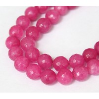 Thulian Pink Candy Jade Beads, 10mm Faceted Round