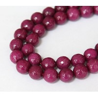Dark Fuchsia Candy Jade Beads, 10mm Faceted Round