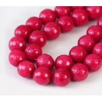 Camellia Pink Candy Jade Beads, 10mm Faceted Round