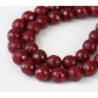 Blood Red Candy Jade Beads, 8mm Faceted Round