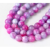 Purple and Pink Multicolor Jade Beads, 10mm Round