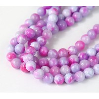 Purple and Pink Multicolor Jade Beads, 8mm Round