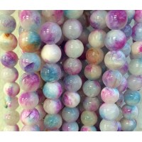 White, Blue and Magenta Multicolor Jade Beads, 10mm Round