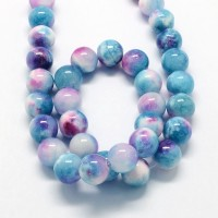 Blue and Pink Multicolor Jade Beads, 10mm Round