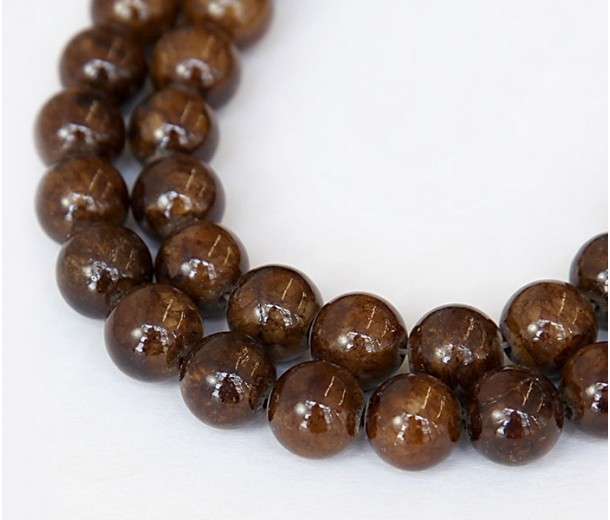 Fawn Brown Mountain Jade Beads, 10mm Round