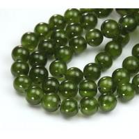 Bright Olive Green Semi-Transparent Jade Beads, 8mm Round
