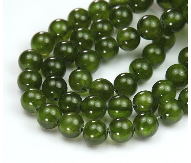 Bright Olive Green Semi-Transparent Jade Beads, 8mm Round