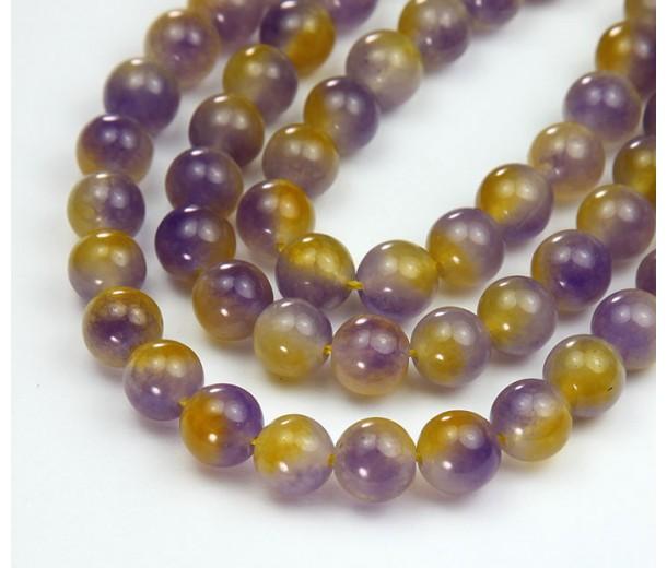 Yellow and Purple Semi-Transparent Jade Beads, 8mm Round