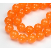 Orange Semi-Transparent Jade Beads, 12mm Round