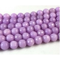 Lilac Candy Jade Beads, 8mm Faceted Round