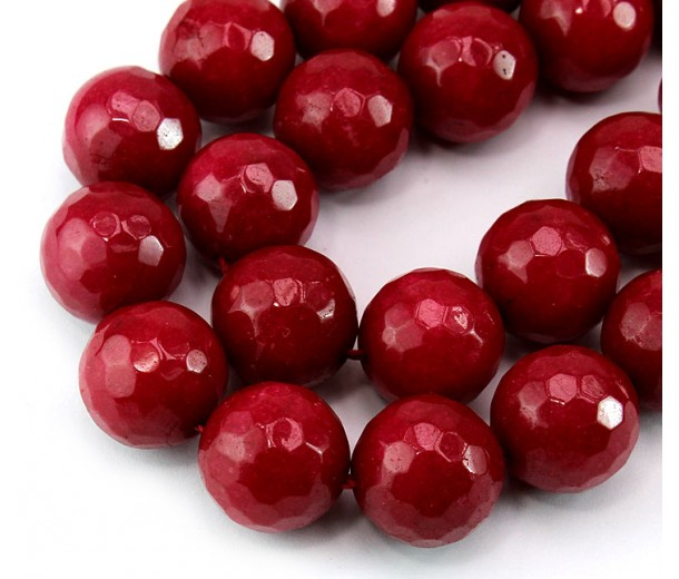 Blood Red Candy Jade Beads, 14mm Faceted Round