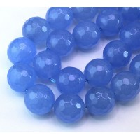 Periwinkle Blue Candy Jade Beads, 14mm Faceted Round