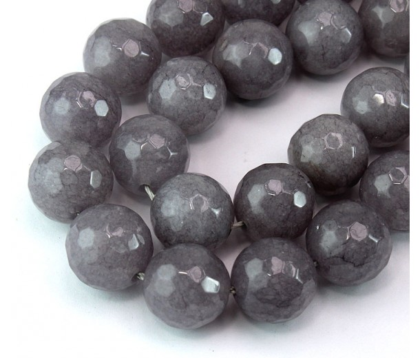 Medium Grey Candy Jade Beads, 14mm Faceted Round