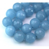 Blue Mist Candy Jade Beads, 14mm Faceted Round