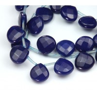 Dark Blue Candy Jade Beads, 13mm Faceted Drop, Pack of 4 Beads