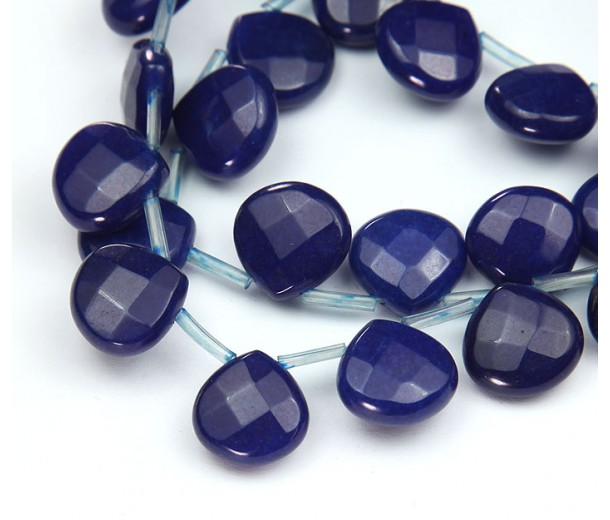 Dark Blue Candy Jade Beads, 13mm Faceted Drop