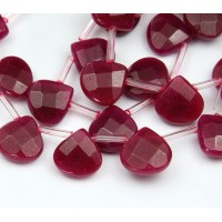 Dark Fuchsia Candy Jade Beads, 13mm Faceted Drop, Pack of 4 Beads