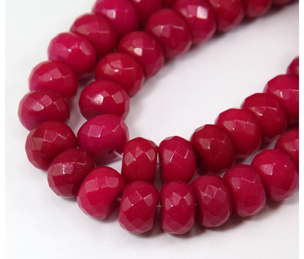 Dark Fuchsia Candy Jade Beads, 12x8mm Faceted Rondelle