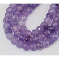 Light Purple Candy Jade Beads, 8x5mm Faceted Rondelle