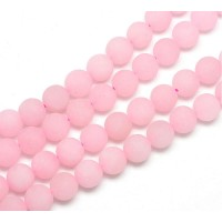 Rose Pink Matte Jade Beads, 8mm Round