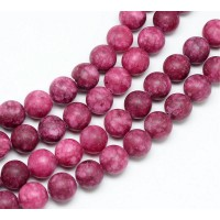 Burgundy Pink Matte Jade Beads, 8mm Round