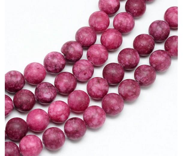 Burgundy Pink Matte Jade Beads, 8mm Round