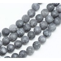 Dark Grey Matte Jade Beads, 8mm Round