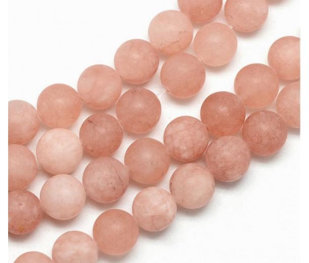 Light Brown Matte Jade Beads, 8mm Round
