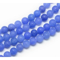 Dark Periwinkle Blue Matte Jade Beads, 8mm Round